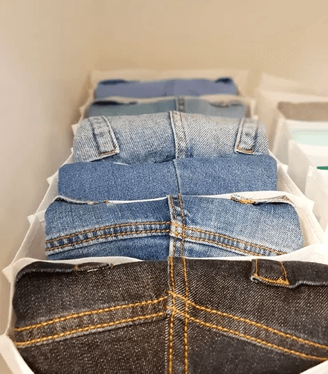 It would help if you stored jeans in shoe bins.